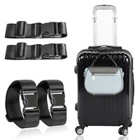 Black Short Travel Luggage Straps Easy Adjustable Suitcase Belt Buckle With Hook