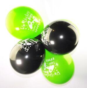 "10x 12"" Black/Green Latex Birthday Boy Balloons Boys Gamer Party Decorations"