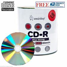100 Pack 52X Smartbuy CD-R 700MB/80Min Shiny Silver Blank Media Data Record Disc