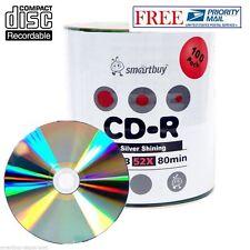 100 Pack 52X Smartbuy CD-R 700MB/80Min Shiny Silver Blank Media Data Record Disc