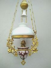 Rar- Schöne antike Jugendstil Petroleumlampe  Majolika alte Zuglampe Deckenlampe