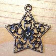 3 große Stern Kettenanhänger bronze antik 30 mm mit Muster zum Schmuck basteln