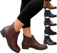 Ladies Womens Flat Block Heels Chelsea Ankle Boots School Work Office Shoes Size