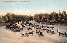 BUENOS AIRES ARGENTINA CORSO EN PALERMO HORSE CARRIAGES POSTCARD 1913