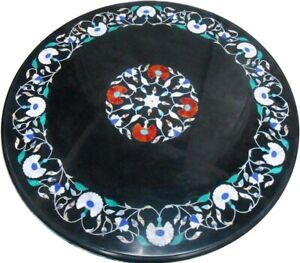 """24"""" black Marble round Center Table Top Inlay work Home Decor"""