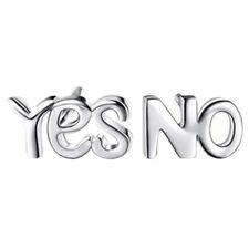 Silber Niedliche Buchstaben YES NO Ohrringe 7 x 5 mms H5N