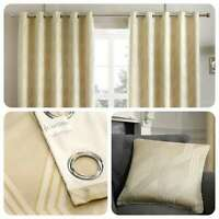 Curtina HOUSTON Natural Geometric Jacquard Eyelet Curtains & Cushions