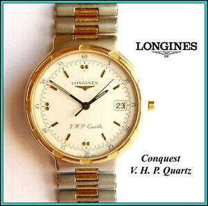 "LONGINES ""CONQUEST VHP"" Wristwatch 4074, Quartz/Date - Gold Plated & Steel WORKS"