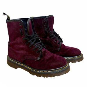 Dr. Martens 1460 Pascal Cherry Red Velvet Boots Women's Size US 6 Combat Lace Up