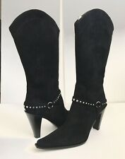 Donald Pliner Coutour Black Suede Rhinestone Chain High Heel Boot 9M Retail $450
