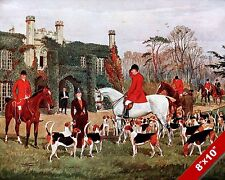 FOX HUNT MEET AT THE ABBEY HORSE EQUESTRIAN HUNTING ART PAINTING CANVAS PRINT