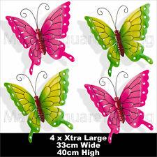 BUTTERFLIES X 4pc EXTRA LARGE OUTDOOR METAL BUTTERFLY GARDEN 2XPINK 2XGREEN