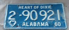 Used 1960 60 Alabama License Plate Car  Vintage Tag Heart of Dixie One SALE