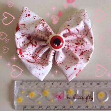 Eyeball Bow Splattered Blood Gothic Punk Gore Horror Halloween Goth Handmade