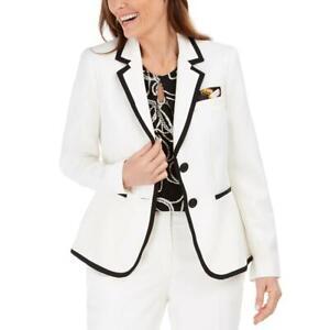 Kasper Womens Contrast Trim Business Two-Button Blazer Jacket Petites BHFO 4790