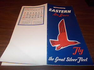 1947 Eastern Airline Timetable/ February 1947 / Nice Graphics !!