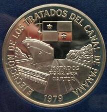 Panama 1979 Canal Treaty Implementation 10 Balboas 1.26oz Silver Coin
