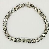 Czechoslovakia Vintage Art Deco 5mm Clear Rhinestone Silver Tone Tennis Bracelet