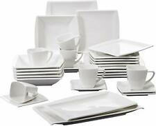 MALACASA 32PCS Ceramic Square Dinnerware Dinner Service Sets Plates Cups Dish