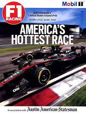 Hot! F1 Racing Magazine - Oct 23-25, 2015 Austin Tx Strict Mint Condition!