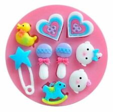 Baby Things 9 cavities Silicone Mold for Fondant, Chocolate, Crafts