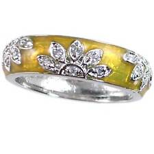 _YELLOW GOLD ENAMEL FLORAL CZ BAND RING_SZ-10__925 Sterling Silver