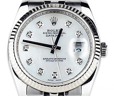 Rolex New Style Mens Datejust Custom Mother of Pearl Diamond Dial 18k G. 116234