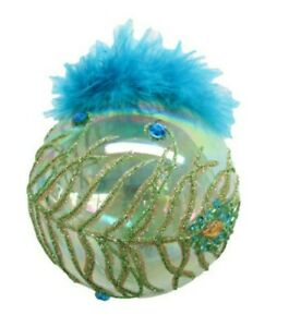 December Diamonds Tropical Peacock w/ Feather Ball Glass Christmas Ornament