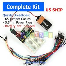 400 POINT SOLDERLESS BREADBOARD 65 PCS JUMPER CABLE ½MB-102 POWER SUPPLY MODULE
