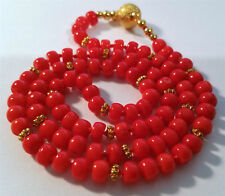 *LOVELY VINTAGE RED CORAL DISK SHAPE BEADS NECKLACE