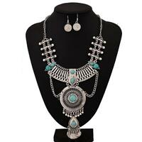 Chic Boho Beads Tassels Pendant Choker Statement Chunky Bib Necklace Earring Set