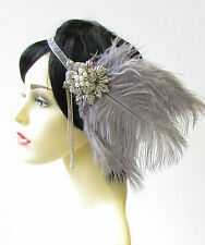 Grey Silver Feather Headpiece Vintage 1920s Flapper Headband Great Gatsby 1656