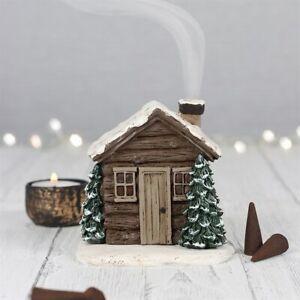 Log Cabin Incense Cone Burner Free Cones Beautiful Festive House Christmas Gift