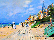 Beach at Trouville France French European Monet Travel Art Poster Advertisement