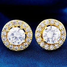 Hot Sale Yellow Gold Filled Round Cubic Zircon Ladies Stud Earrings
