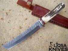 CUSTOM HANDMADE DAMASCUS STEEL TANTO HUNTING KNIFE STAG HANDLE AND LEATHER SHEAF