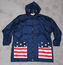 vtg 90s USA American Flag PACKABLE Backpack Jacket SMALL S Navy Stars Stripes
