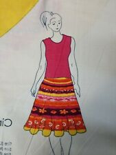 Circle Skirt Cut and Sew Fabric Panel Multicolored with Rhinestones  (50)