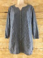 J Jill Denim Tunic Shirt Top Petite XS Pleated Chambray Long Sleeve Button Up