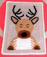 Knitting Pattern Baby's Cute Rudolph Xmas Blanket  45 x 70 cm(123)