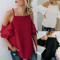 AU Womens Cold Off Shoulder Tops T Shirt Solid Short Sleeve Summer Blouse Tees