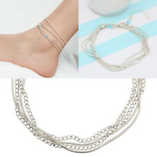 Summer Beach Barefoot Silver Anklet Foot Ankle Bracelet Long Chain Jewelry
