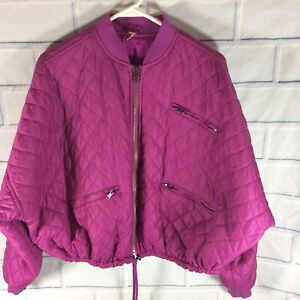 FREE PEOPLE Easy Quilted Bomber Jacket Oversized Fit Purple Size Small (cL)
