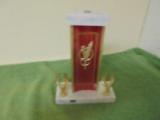 Vintage Gold Tone & Red Metal Marble Bottom Trophy Base with 2 Side Eagles