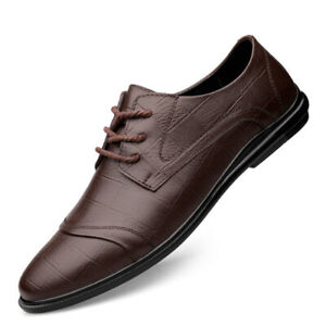 Mens Faux Leather Pointy Toe Low Top Oxfords Business Formal Dress Lace Up Shoes