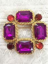 Huge Purple Red Gold Geometric Square Shape Brooch 1980's Retro
