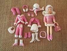 """Polly Pocket Lot """"Colors of the Rainbow"""" Pink Winter Snow Outfits Ice Skater R18"""