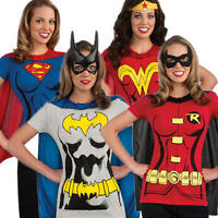 Superhero Ladies T-Shirt & Cape Set Fancy Dress Costume Top Adult Sizes UK 8-18