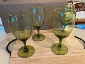 """Wineglass - Crystal - Green color - 8"""" tall x 3"""" wide  - sold as set of 4"""