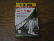 Futuro Anti-Embolism Knee Length White Stockings 71057 Large Closed Toe Moderate